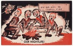 Post Card Boy Scout Comic Singing Around Fire | eBay