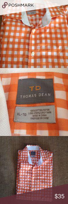 Thomas Dean Checkered Shirt Thomas Dean, orange and white checkered long sleeve button down shirt. Size XL. 100% cotton. Pre-loved, excellent condition. Bundle and save. Thomas Dean Shirts Dress Shirts
