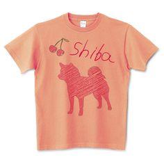 レッド柴犬ラフシルエット | デザインTシャツ通販 T-SHIRTS TRINITY(Tシャツトリニティ) 柴犬のラフなシルエットとサクランボが可愛いソフトでナチュラルイメージのデザインTシャツ&グッズ。 あなたのドッググッズにしばいぬさんのラフな線アートはいかが?