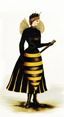 Victorian hornet costume ca. 1880's.  Funny b/c the wasp shape was an female form ideal during the Victorian age.