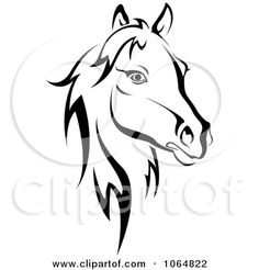 Clipart Horse Head Logo In Black And White 2 - Royalty Free Vector Illustration by Seamartini Graphics