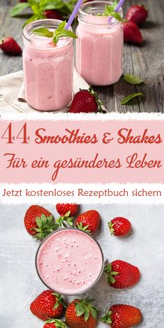 44 smoothies for a healthier life - Secure your free recipe book with 44 smoothie and shake recipes for a healthier life (you only pay - Avocado Smoothie, Mango Smoothie Healthy, Peach Smoothie Recipes, Summer Drink Recipes, Healthy Juice Recipes, Healthy Juices, Healthy Meals For Kids, Fruit Smoothies, Strawberry Julius Recipe