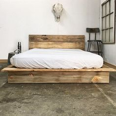 "Rustic Modern Platform Bed Frame and Headboard - Loft Style - Solid Wood Made In USA - ""Ol' Weathered Plank Low Pro"""