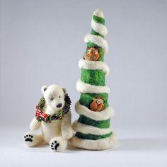 Whimsical wool holiday tree- Needle felted owls- swirls of snow- Christmas decoration