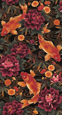 47 Trendy Ideas For Art Design Tattoo Colour Art Koi, Fish Art, Inspiration Art, Art Inspo, Interior Inspiration, Cute Wallpapers, Wallpaper Backgrounds, Japon Illustration, Art Asiatique