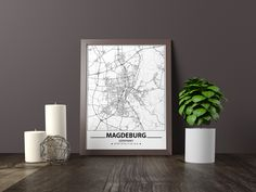 Excited to share the latest addition to my #etsy shop: Magdeburg map print, Minimalistic wall art poster, Germany gifts, Birthday Gift, For father, Father Black And White Wall Art, Black And White City, Black And White Posters, Map Wall Art, Art Mural, Map Art, Artwork Prints, Poster Prints, Art Posters