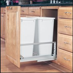 Amazon.com - Rev-A-Shelf 5349-2150DM-2 50 Qt Double Pull-Out Waste Containers, White - Kitchen Waste Bins