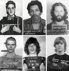Elvis Presley, Jimi Hendrix, Jim Morrisson, David Bowie, Mick Jagger and Kurt Cobain.