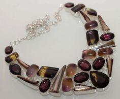 Ametrine Quartz Onyx Pearl Silver Plated Necklace . Starting at $20