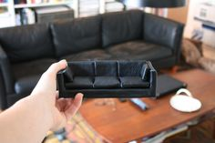 mini leather sofa - I should make one for my doll house