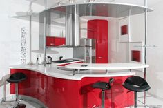 Red kitchen design is a design that includes a luxury kitchen. Red kitchen design also has the advantage that the interior which looks radi. Red Kitchen Cabinets, Red Kitchen Decor, Kitchen Cabinet Styles, Vintage Kitchen, Kitchen Counters, Granite Kitchen, White Cabinets, Kitchen Interior, Layout Design