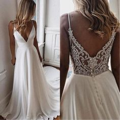Backless Lace Wedding Dress, V Neck Wedding Dress, White Wedding Dresses, Tulle Wedding, Gown Wedding, Wedding Cakes, Wedding Rings, Wedding Dress Beach, Modest Wedding