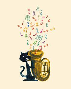 Happy Cat With A Tuba ~*~ Budi Satria Kwan