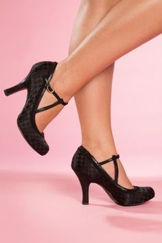Ruby Shoo - 50s Salma Polkadot Ankle Strap Pumps in Black