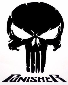 To Apply:Clean the surface and remove the backing from the decal. Place the decal on the desired clean surface, before removing transfer paper use a credit card type tool to adhere and smooth decal to surface then remove the transfer paper. The Punisher, Punisher Skull, Punisher Logo, Punisher Tattoo, Skull Stencil, Skull Art, Silhouette Cameo Projects, Silhouette Design, Joker Art