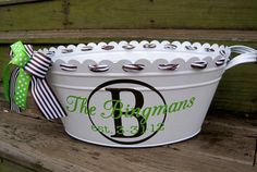 """a little vinyl and a beverage tub go a long way in  making a stylish, DIY wedding gift... fill with wine for the new couple to celebrate all of their """"firsts!"""""""