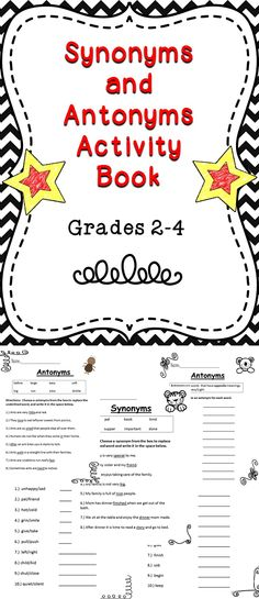 A fun filled synonym and antonym activity book for elementary students. #tpt #synonyms #antonyms