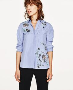 Image 1 of EMBROIDERED STRIPED POPLIN SHIRT from Zara
