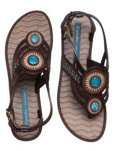 Brown (Brown) Grendha Brown Floral Bead Sandals    274514220   New Look