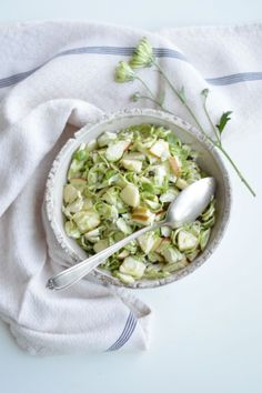 fork and flower: shaved brussels sprouts & apple salad