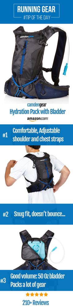 Stay hydrated during your run. This hydration pack has over 140 five star reviews on Amazon. Looking for the perfect half marathon or 5k running gear? Try this hydration pack from Camden Gear. This will complete your workout or training outfit and it is perfect for men and women. Good tip for beginner running clothes.