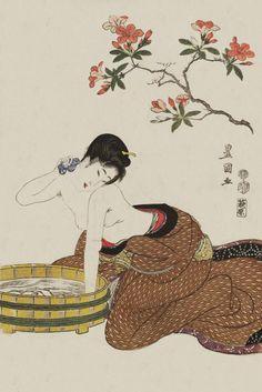1800. Utagawa Toyokuni I (1769-1825) – Woman Bathing Under Flowers, Ukiyo-e woodblock print