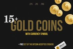Gold coins with currency symbol by Alex Fino on Creative Market