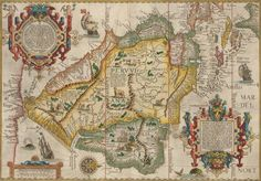 Map of South America by Jan Huygen Van Linschoten / 1596   This is one of the most striking and decorative maps of South America and is an important early record of the continent.The map is oriented with north to the right and includes Florida and the Gulf Coast .  The map is filled with fictional mountains, rivers,sea monsters and vignettes of Patagonian giants, Brazilian cannibals and a lion-like creature with a striped tail and human face.