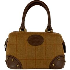 Dee Two Rose Brown Tweed Small Gladstone Bag Country Cognac The Country Cognac range of handbags and accessories combines the luxury of leather with