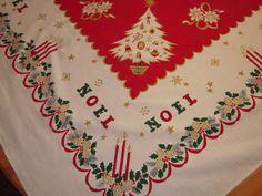 Vintage Christmas Tablecloth Festive Trees & by unclebunkstrunk