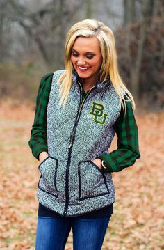 Women's Baylor BU herringbone quilted puffer vest