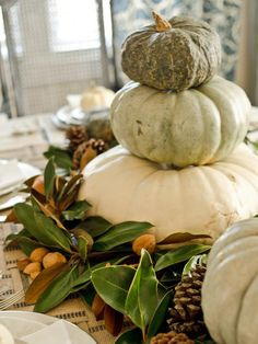 Stack a Centerpiece - 13 Rustic Thanksgiving Table-Setting Ideas on HGTV