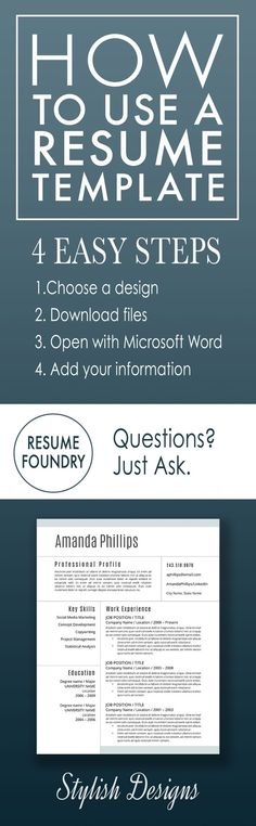 Elegant resume template Instant download, for use with Microsoft - how to feel out a resume