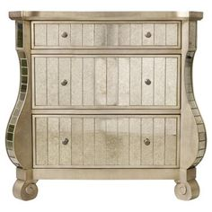 Check out this item at One Kings Lane! Bell 3-Drawer Mirrored Chest, Silver