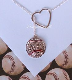 Baseball Lariat Necklace with Rhinestones & Heart (limited pictures/images available due to the fact that my work has been stolen and copied