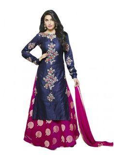 Festival Wear Blue & Pink Heavy Cotton Lehenga Suit  - 71148