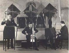 the theremin electro ensemble (electrio) julius goldberg: rca theremin with lightning bolt leonid bolotine: theremin cello  gleb yellin: theremin keyboard 1932