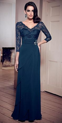 VM Collection 70806 Mother of the Bride Dress- Three quarter sleeve V neck Chiffon Dress with Lace bodice. Colors: Midnight, Platinum, Taupe