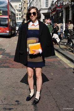 White ankle socks, black mocassins, plaid skirt, knitted pullover, black jacket