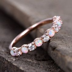 Opal Wedding Ring/Opal ring/Opal Wedding Band/Rose Gold Plated/Sterling Silver/CZ Diamond Enternity band/Vintage Opal Diamond Ring/ by kbestdesign on Etsy Opal Wedding Rings, Wedding Rings Vintage, Diamond Wedding Bands, Wedding Jewelry, Gold Wedding, Opal Jewelry, Diamond Jewelry, Diamond Rings, Gold Jewelry