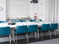 galant conference table | ... desks put together as a long conference table and green leather chairs