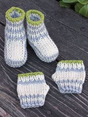 Fingers and Toes Knit Booties and Fingerless Mitts