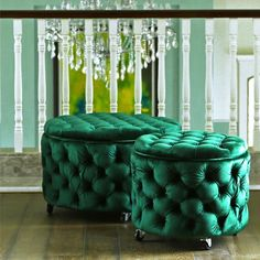 Just arrived at Black Mango Emerald Green Emma Ottomans in Velvet - Can't even cope! Green Ottoman, Round Ottoman, Chair And Ottoman, Find Furniture, Home Furniture, Storage Room Organization, Food Storage, Small Space Bathroom, Green Curtains