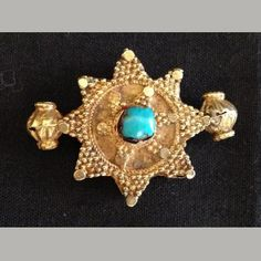 "224 to 651 CE Dimensions: 1 1/4"" (3 cm) Material: Gold & Turquoise Condition: Very fine Region: Persia ("