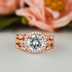 2.25 ctw Wedding Set Man Made Diamond Simulants by TigerGemstones