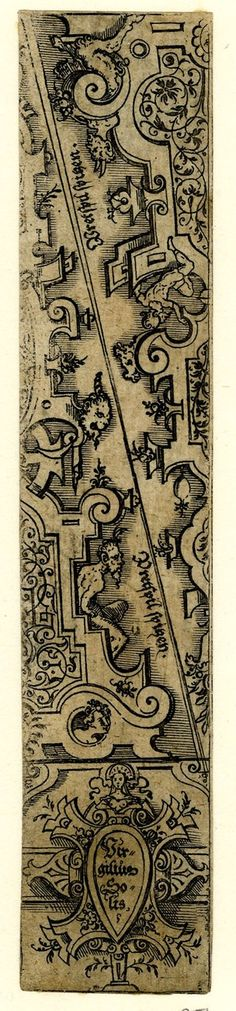 Ornamental designs for a #backgammon #board; with satyrs seated on strapwork borders filled with arabesque ornaments; two triangular section forming a rectangle above, in lower margin a cartouche with Solis's name.  Virgil Solis   School/styleGerman   1530-1562