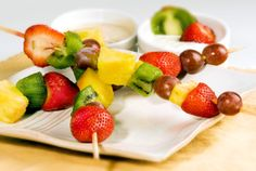 Fruit Kabobs - A perfect, healthy, summer dessert. Bring these to your next BBQ it really can't get easier than this! #memorialday