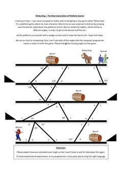 This worksheet is Parallel Lines Angles Questions in a fun and engaging way. Work out the missing angles for the computer programmer using everything you k...