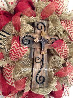 Burlap Wreath, Deco Mesh Wreath, Cross Wreath, Red Wreath, Burgundy Wreath, Rustic Wreath on Etsy, $98.00