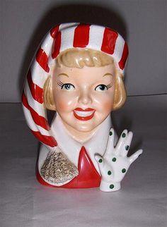 Vintage Christmas Lady Head Vase (so cheerfully cute). Kitsch, Christmas Past, Retro Christmas, Christmas Decor, Christmas Candy, Xmas, Vintage Planters, Vintage Vases, Ceramic Lady Heads